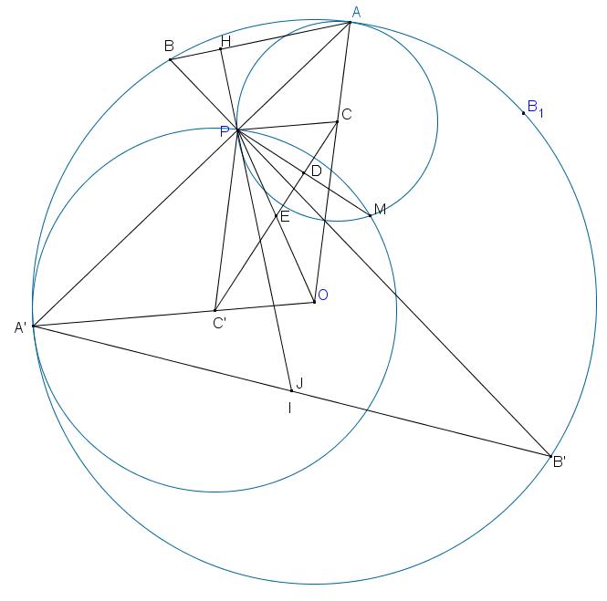 Đường tròn (C) đi qua A, P và tiếp xúc với (O) cắt đường tròn (C2) đi qua A2, P và tiếp xúc với (O) tại $A2.png