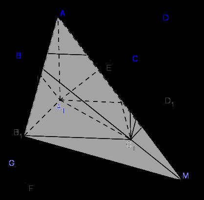 Cho hình lập phương ABCD.A1B1C1D1 cạnh bằng 1... Tính diện tích tam giác MAB1.png