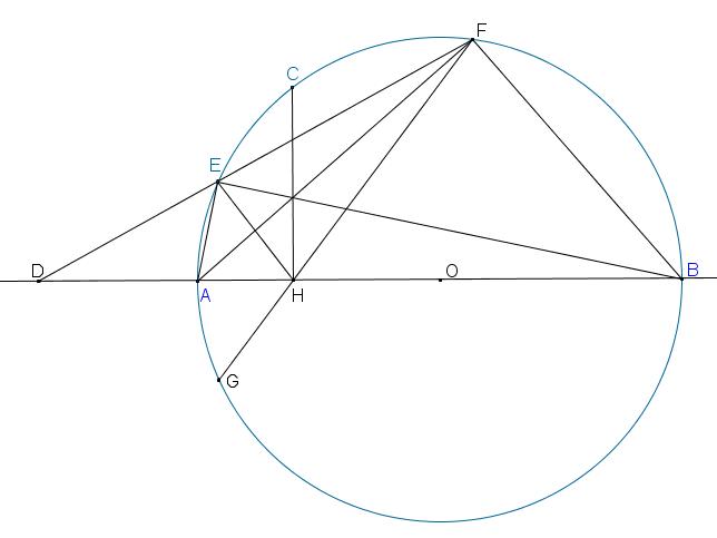 2 điểm E,F nằm trên nửa đường tròn sao cho CHEˆ=CHFˆ. Chứng minh đường thẳng EF luôn đi qua 1 điểm cố định.png