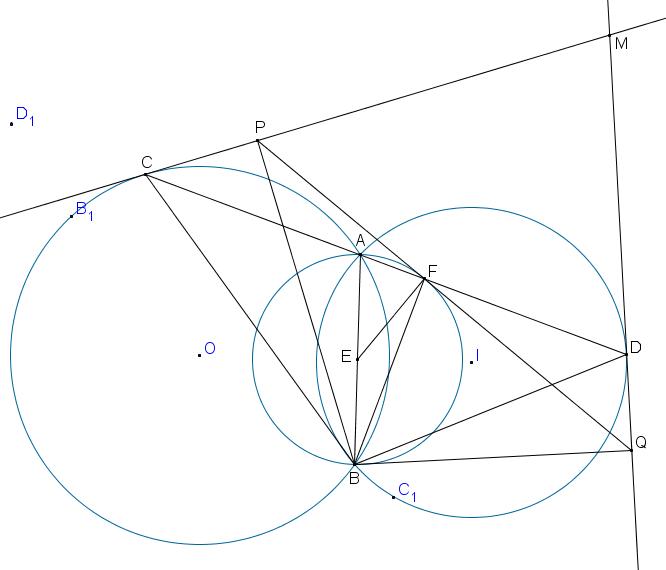 Gọi P,Q lần lượt là hình chiếu vuông góc của B xuống MC, MD Chứng minh rằng PQ luôn tiếp xúc với 1 đường tròn cố định.png