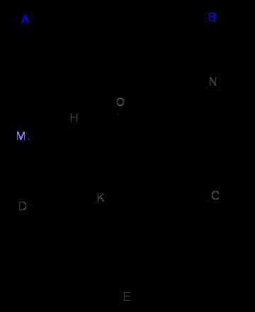 1.Cho hình vuông ABCD, tâm O. Một đường thẳng xy quay quanh O cắt 2 cạnh AD và BC lần lượt tại M,N. Trên CD lấy điểm K sao cho DK = DM. Gọi H là hình chiếu của K trên xy. Tìm quỹ tích điểm H.png