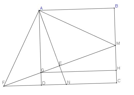 Cho hình vuông ABCD, gọi M là trung điểm của BC, N trên cạnh CD sao cho CN=2ND. Giả sử M(11tr2,1tr2) và đường thẳng AN 2x-y-3=0. Tìm tọa độ điểm A.png