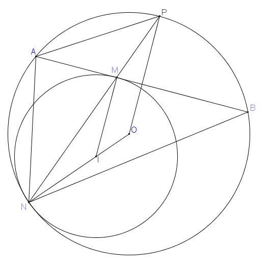 Cho đường tròn (O) và dây AB của đường tròn. Một đường tròn (I) tiếp xúc với đoạn AB tại M và tiếp xúc trong với (O) tại N. Đường thẳng MN cắt (O) tại P.Chứng minh PM.PN=PA2.png