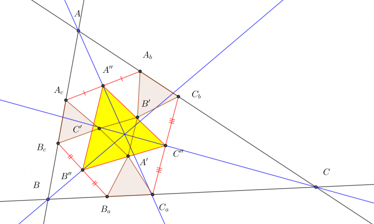 The equilateral triangle homothetic to the Morley triangle and perspective to ABC.png