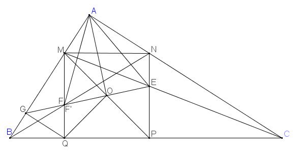 Cho tam giác ABC vuông tại A, một hình vuông MNPQ nội tiếp tam giác ABC (M thuộc AB,N thuộc AC,P,Q thuộc BC). CM cắt NP tại E; BN cắt MQ tại F. Chứng minh AE=AF và ˆEAC=ˆFAB.png