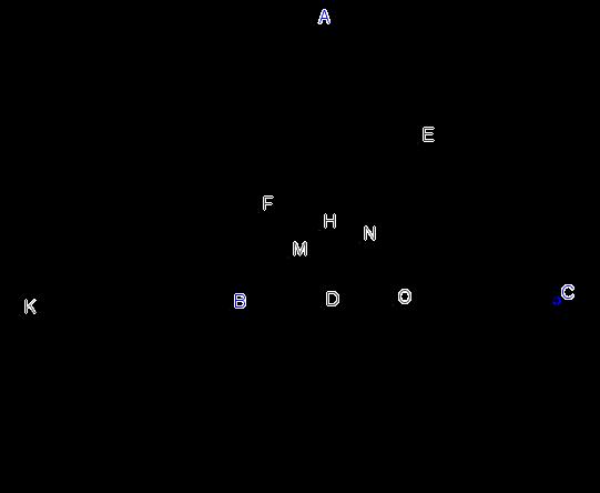 b. 2 đường thẳng EF và BC cắt nhau tại K; FD cắt EB tại M; ED cắt FC tại N. CM 3 điểm K, M,N thẳng hàng.png