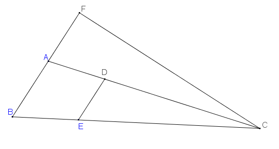 Cho tam giác ABC; AB=1; góc ˆBAC=105∘; góc ˆABC=60∘  . Trên cạnh BC lấy điểm E sao cho BE= 1. Vẽ DE ss AB; D thuộc AC.             CMR 1trAC2+1trAD2=4tr3.png