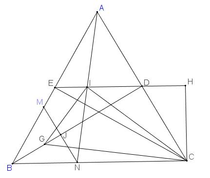 Gọi G là trọng tâm tam giác BMN và I là trung điểm của AN. Tính các góc của tam giác GIC.png