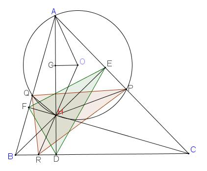 Gọi R là giao điểm của OH với BC. CMR tam giác PQR đồng dạng với tam giác FED.png